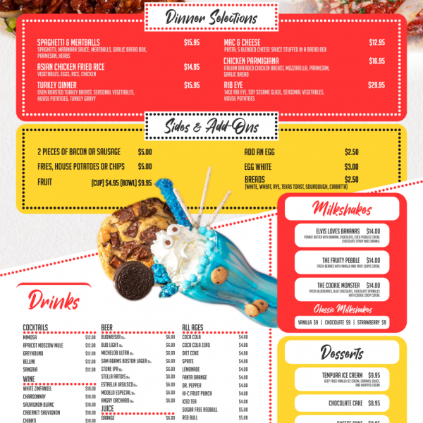 Maxies Las Vegas Menu Design